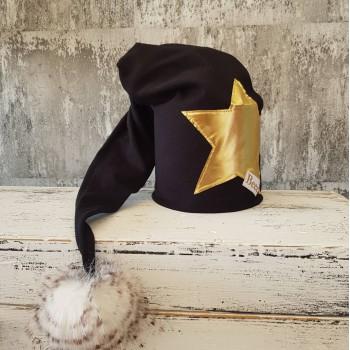 Dvojvrstvová čierna čiapka so zlatou hviezdou - Trpaslík