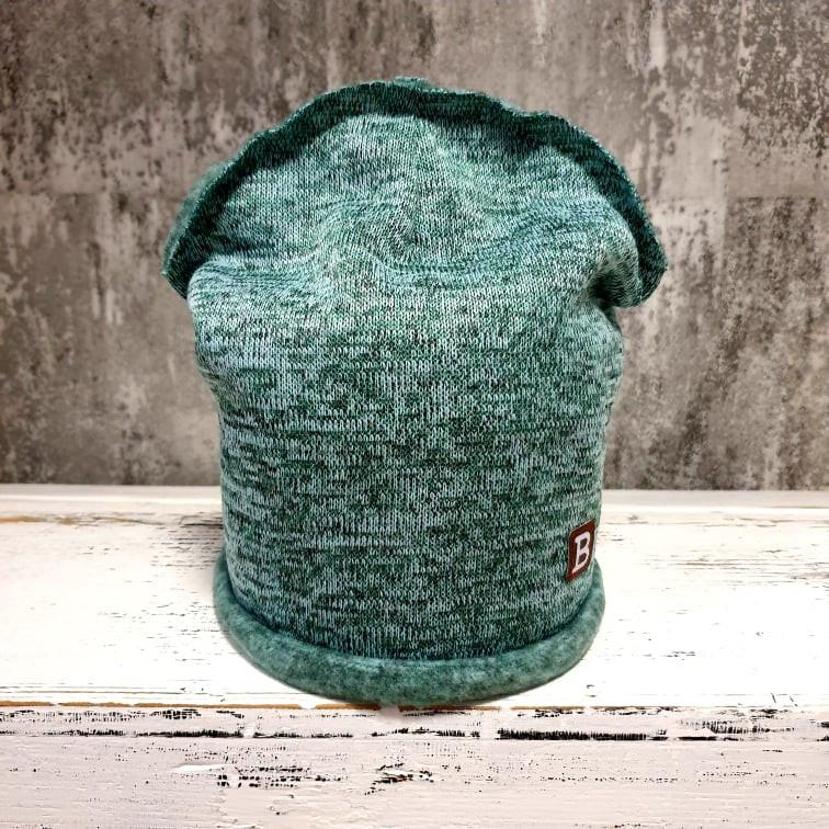 Jednovrstvová zateplená čiapočka zo svetroviny - old mint