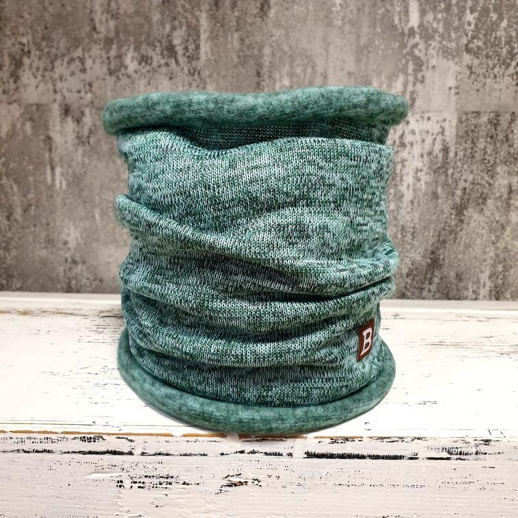 Jednovrstvový zateplený nákrčník zo svetroviny - old mint