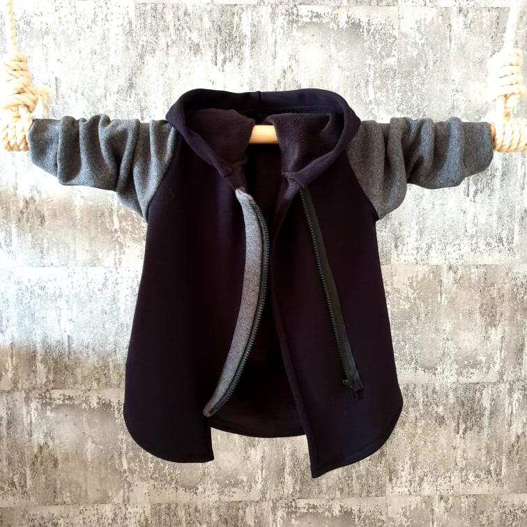 Zateplený predĺžený kabátik na zips - čierny