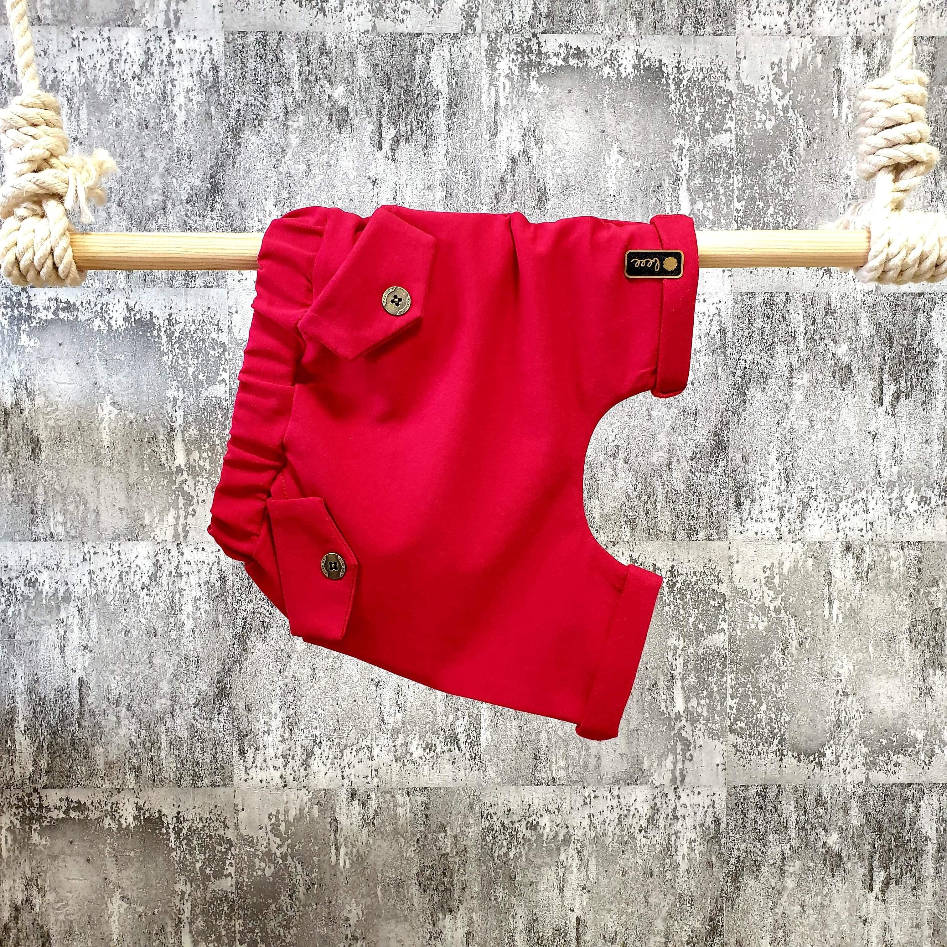 Kraťasky s vreckami - červené