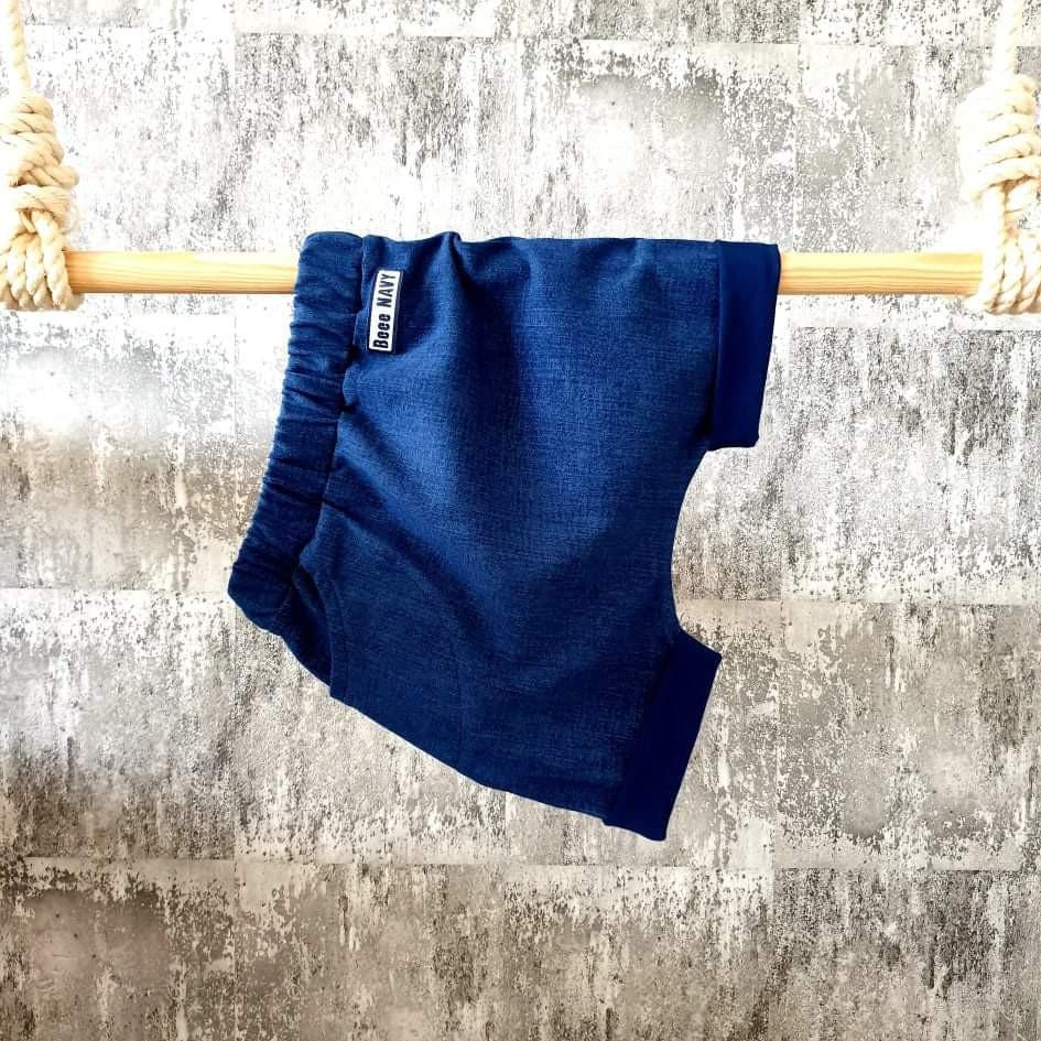 Úpletové kraťasky s vreckom Beee Navy - jeans