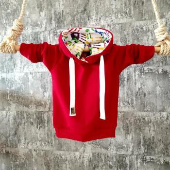 Červená mikinka s kapuckou - farebné ručičky