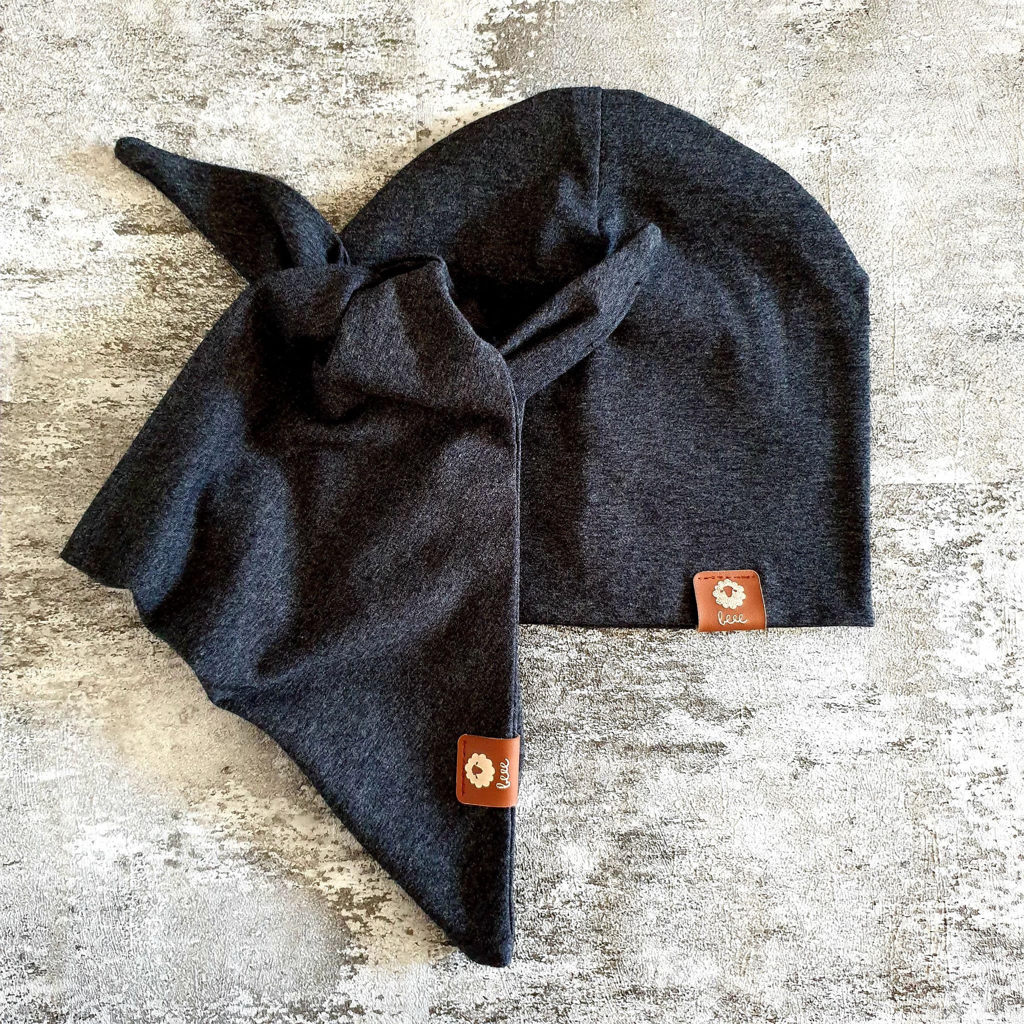 Dvojvrstvový setík - čiapka + šatka na krk - antracit