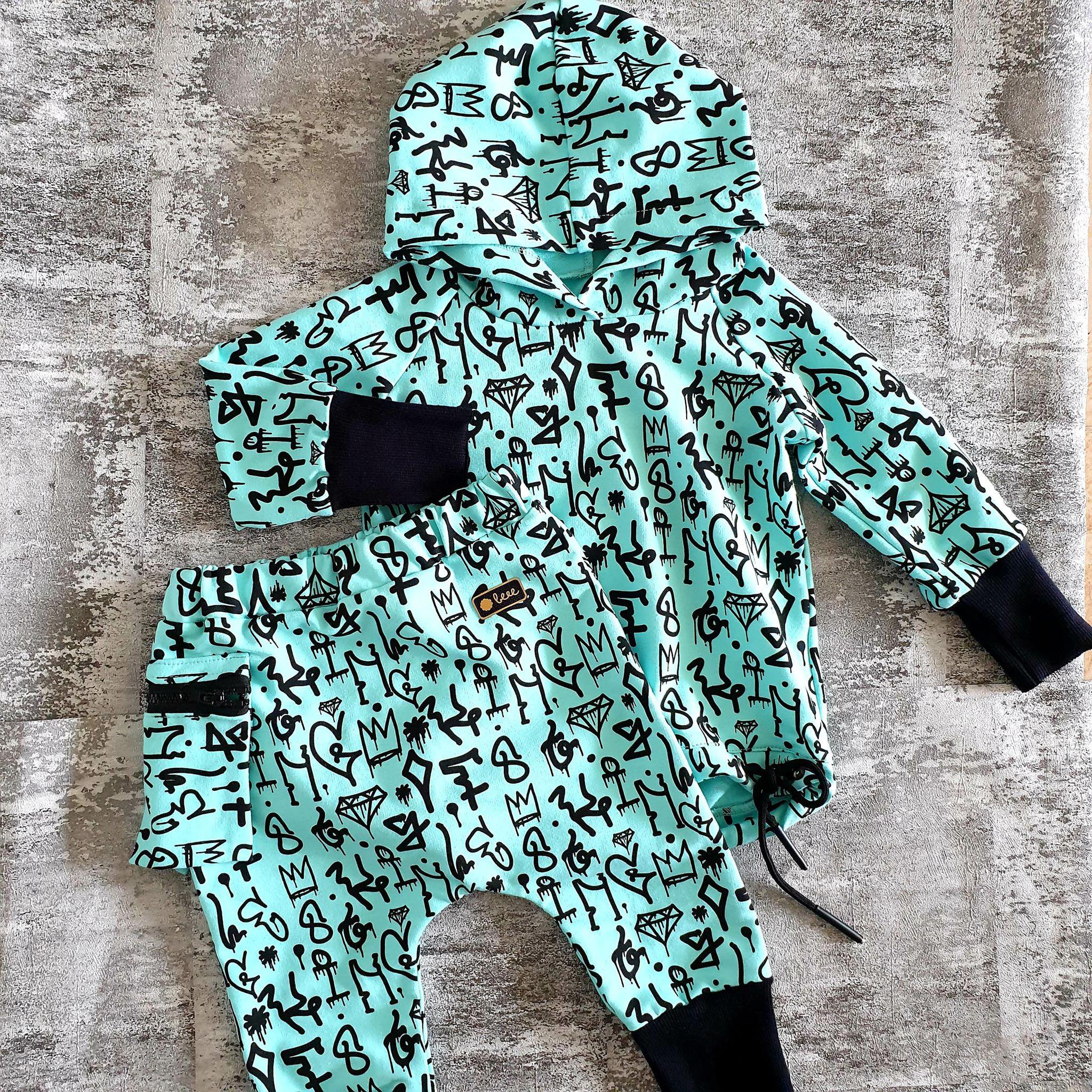 Pudláčiky s ľadvinkovým vreckom - graffiti - mint