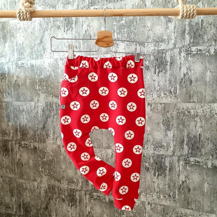 Pudláčiky s vreckom - hviezdy - červené - posledný kus - 86, 92