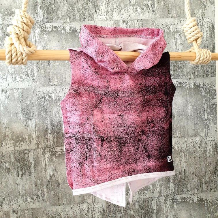 Tričko s kapuckou - ružový mramor