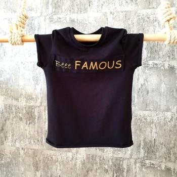 Úpletové tričko Beee FAMOUS - čierne