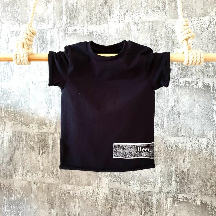 Úpletové tričko mramor - čierne