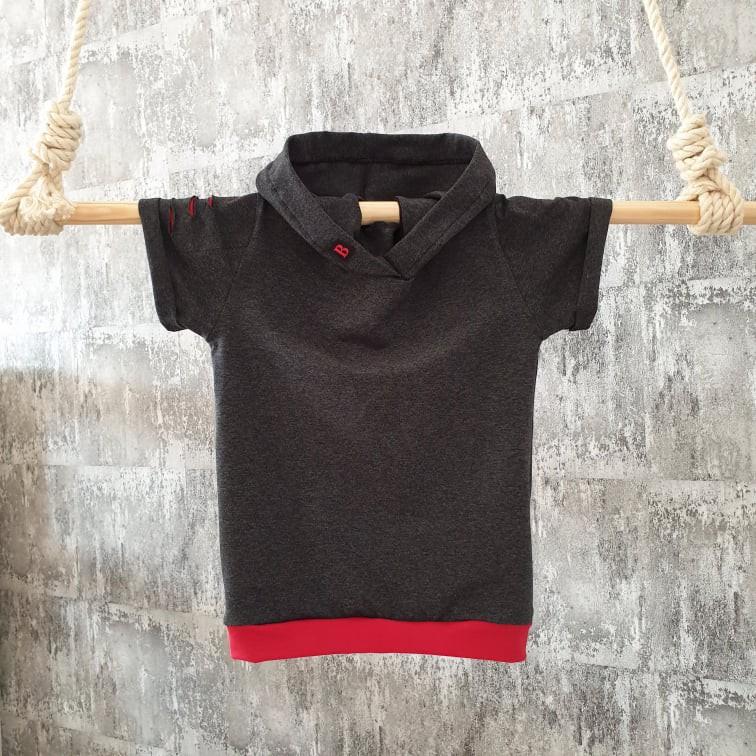 Úpletové tričko street s kapuckou - antracit
