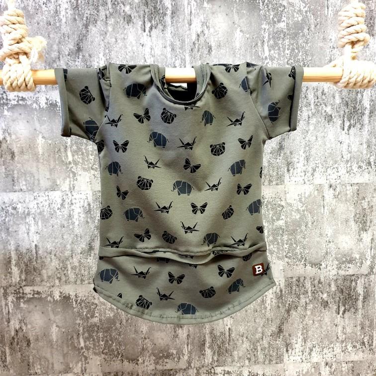 Úpletové tričko - origami - khaki
