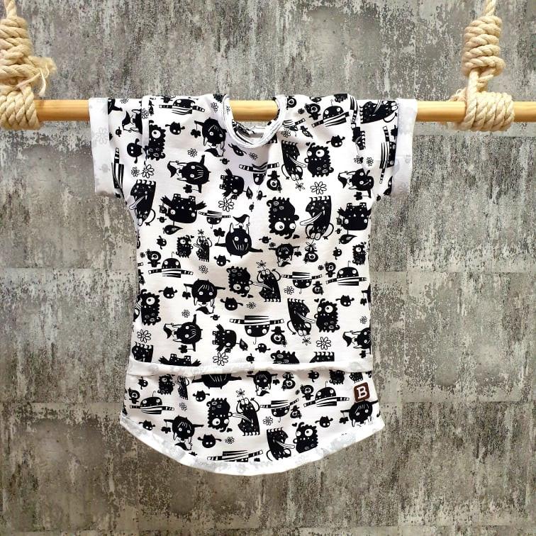 Úpletové tričko - príšerky - biele