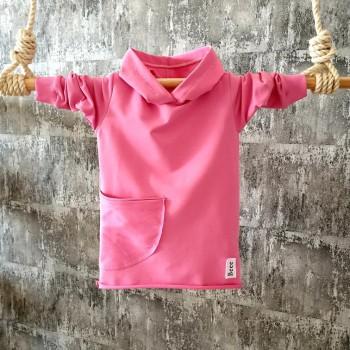 Mikino-šaty s kapuckou a brmbolcom - babypink