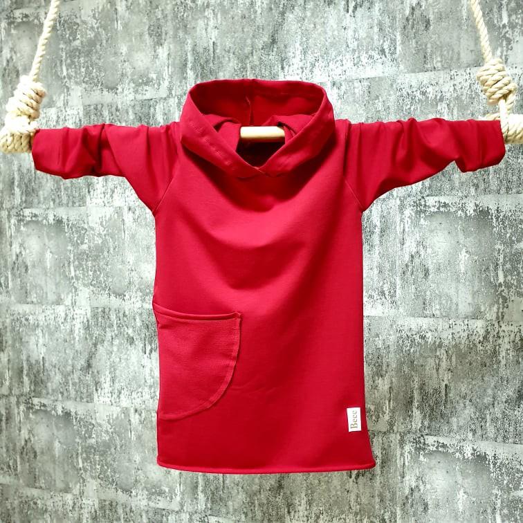 Mikino-šaty s kapuckou a brmbolcom - červené